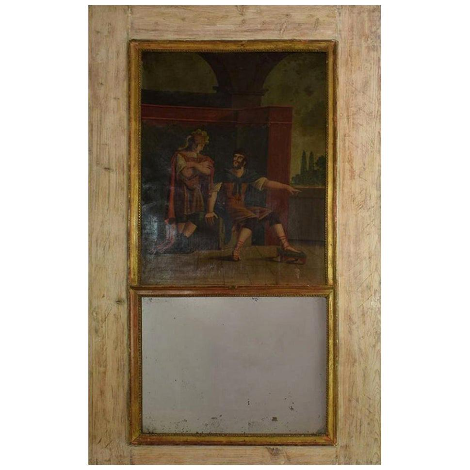 18th Century French Trumeau Mirror with a Painting