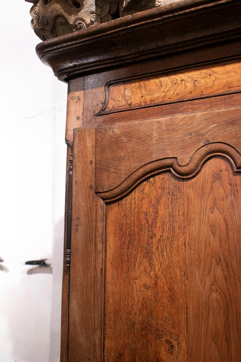 18th Century French Two Door Oak Panelled Wardrobe For Sale 6