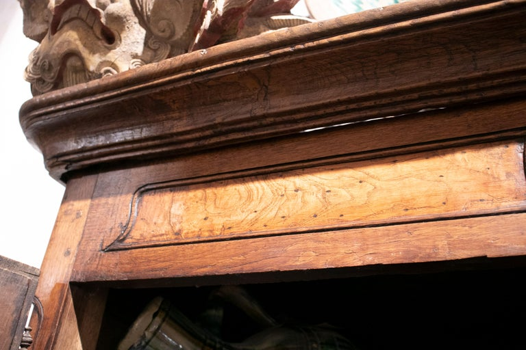 18th Century French Two Door Oak Panelled Wardrobe For Sale 12