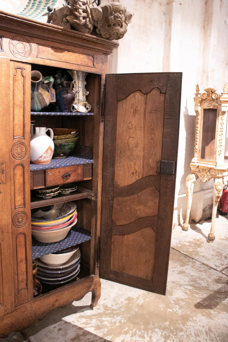 18th Century and Earlier 18th Century French Two Door Oak Panelled Wardrobe For Sale