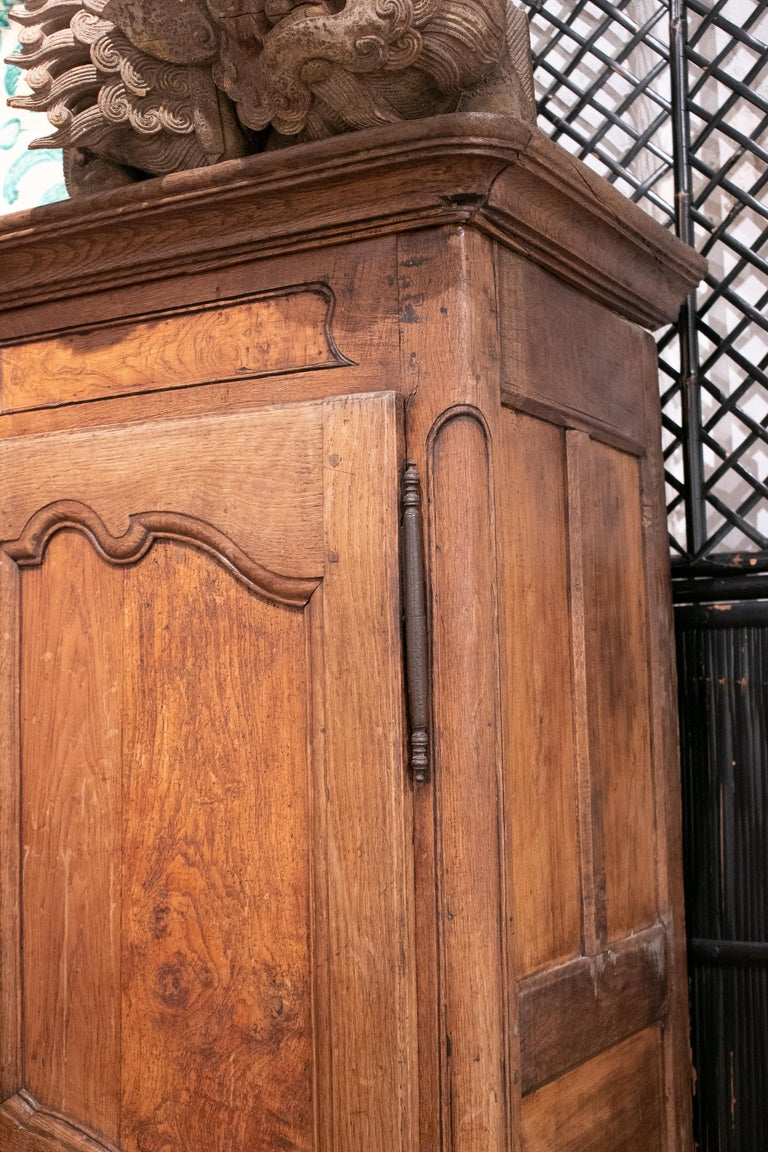 18th Century French Two Door Oak Panelled Wardrobe For Sale 4