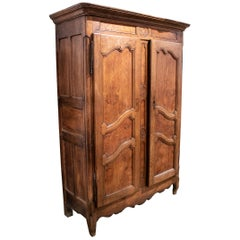 18th Century French Two Door Oak Panelled Wardrobe