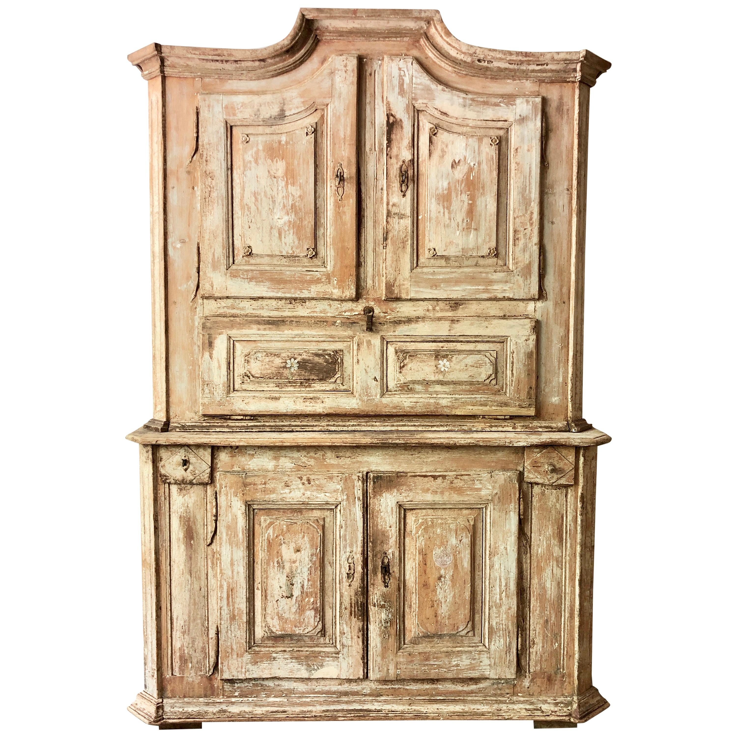 18th Century French Two Part Cabinet