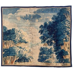 18th Century French Verdure Aubusson Tapestry Fragment with Trees and Foliage