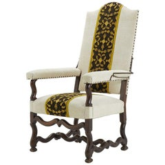 18th Century French Walnut Armchair with Metal and Silk Thread Panel