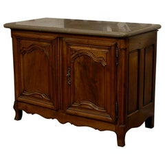 18th Century French Walnut Buffet Sideboard with Gray Marble Top