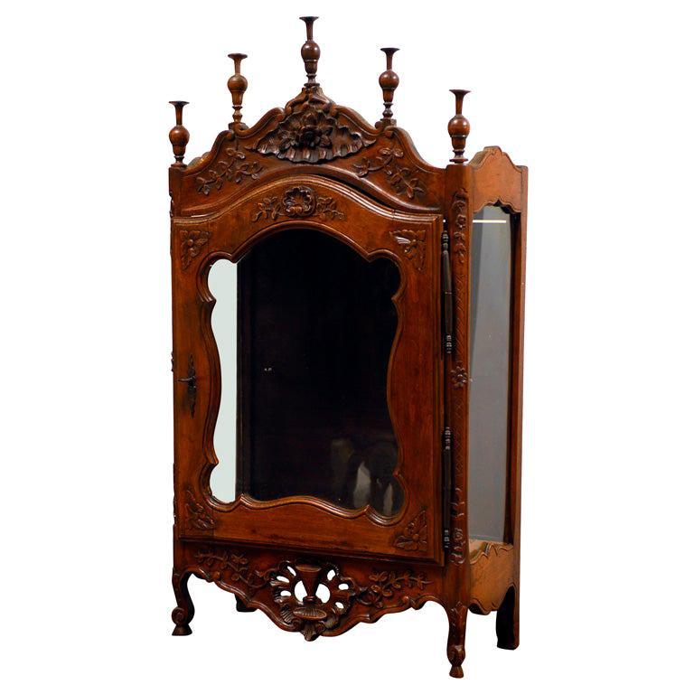 18th Century French Walnut Étagère Vitrine Glass Door Display Cabinet