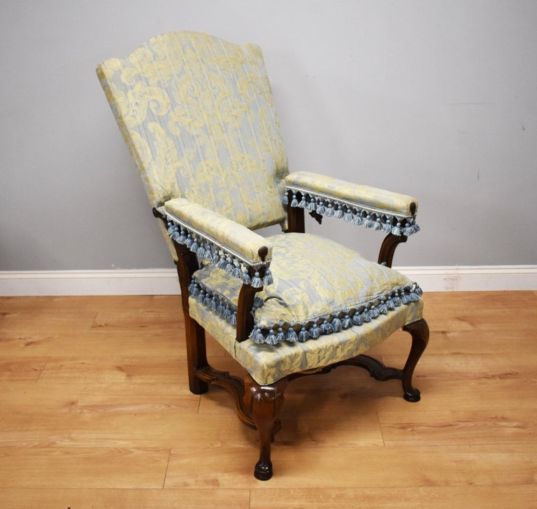 Fabric 18th Century French Walnut Reclining Chair For Sale