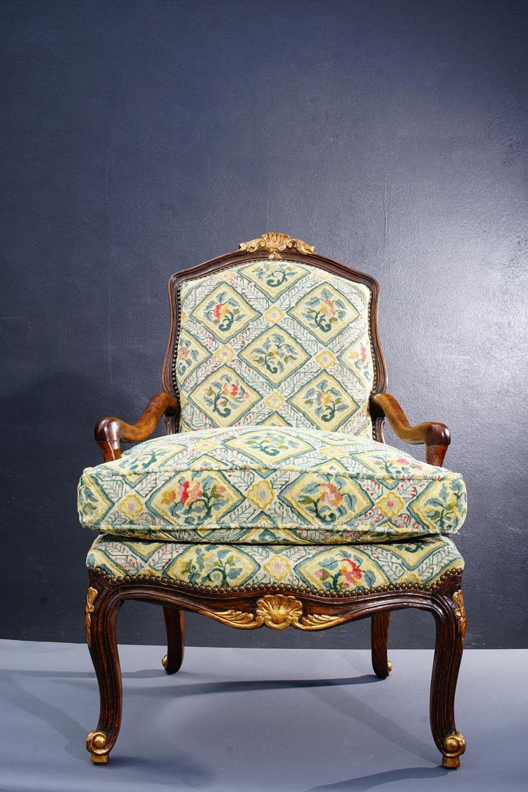 18th Century and Earlier 18th Century French Walnut Regence Armchair For Sale