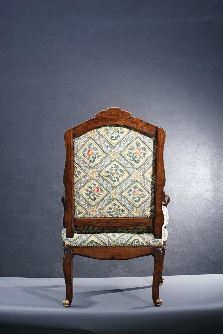 18th Century French Walnut Regence Armchair For Sale 2