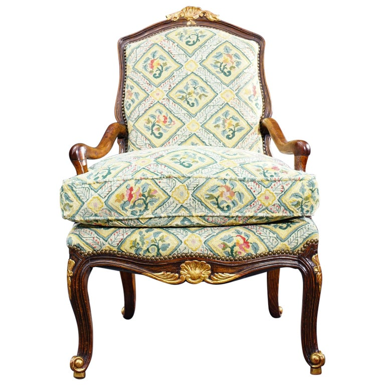 18th Century French Walnut Regence Armchair For Sale