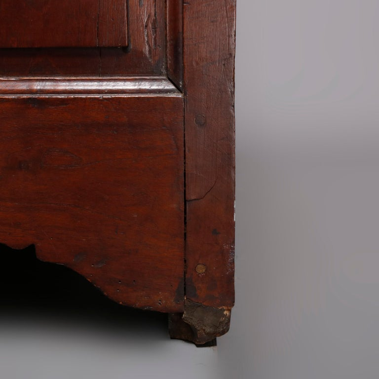 18th Century French Walnut Serpentine Commode with Figural Cherub Bronze Pulls For Sale 7