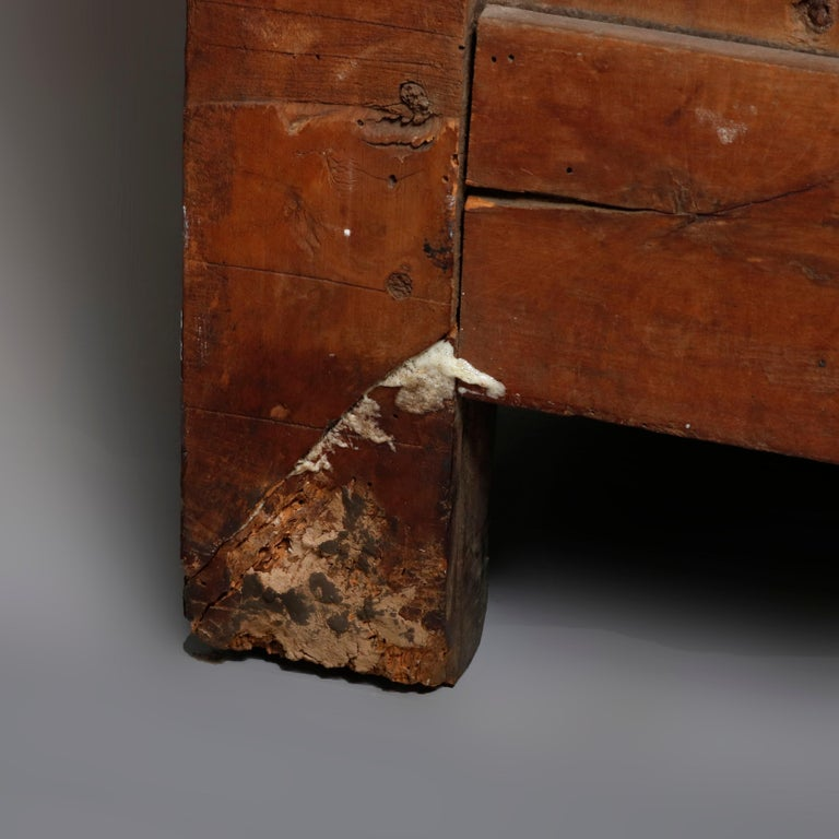 18th Century French Walnut Serpentine Commode with Figural Cherub Bronze Pulls For Sale 8