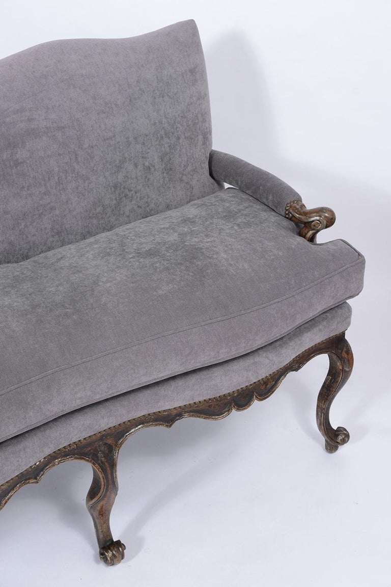 Carved Antique French Walnut Sofa For Sale