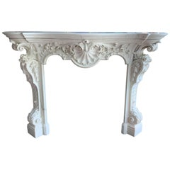 18th Century French White Statuary Chimneypiece