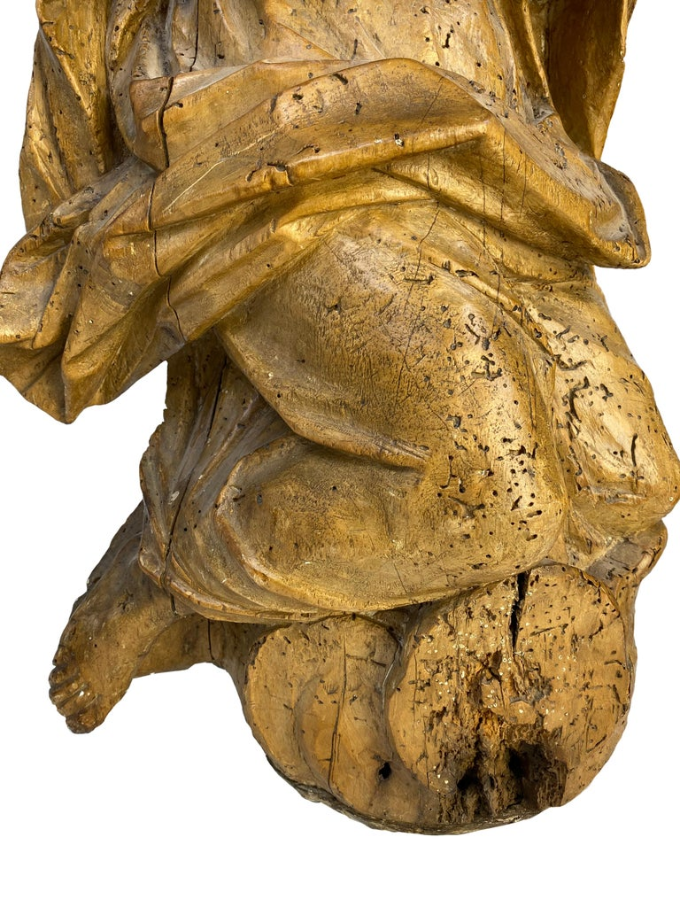 Hand-Carved 18th Century French Wooden Angel Sculptures For Sale
