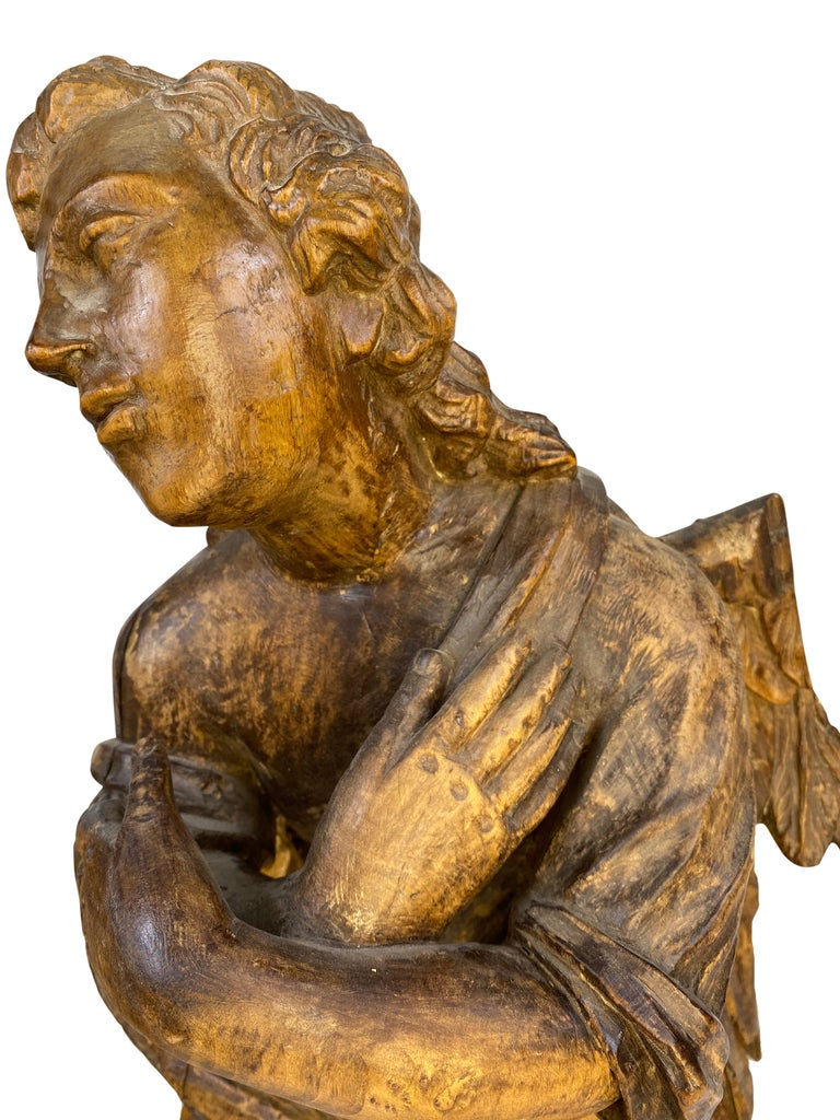 18th Century French Wooden Angel Sculptures In Good Condition For Sale In Houston, TX