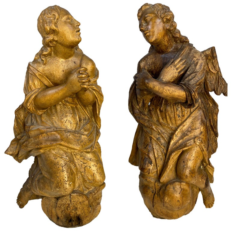 18th Century French Wooden Angel Sculptures For Sale