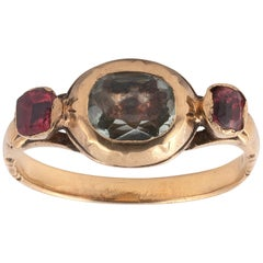 18th Century Garnet Rock Crystal Gold Fede Ring
