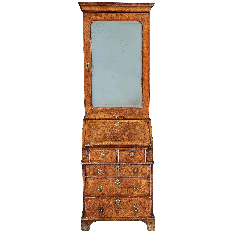 18th Century George I Burr Walnut Bureau Bookcase