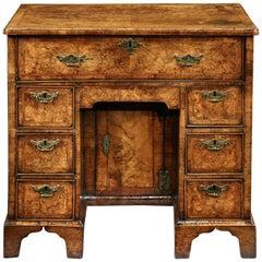 18th Century George II Burr Walnut Kneehole Desk