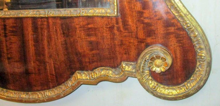 English 18th Century George II Mahogany and Carved Giltwood Wall Mirror