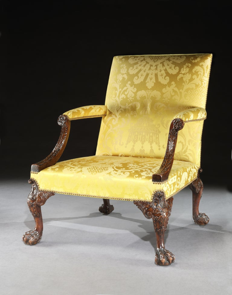English 18th Century George II Walnut Library Armchair Attributed to Giles Grendey For Sale
