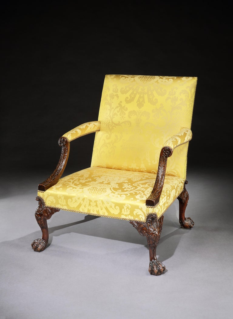 18th Century George II Walnut Library Armchair Attributed to Giles Grendey In Good Condition For Sale In London, GB