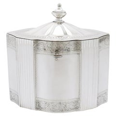 18th Century George III 1794 Sterling Silver Locking Tea Caddy