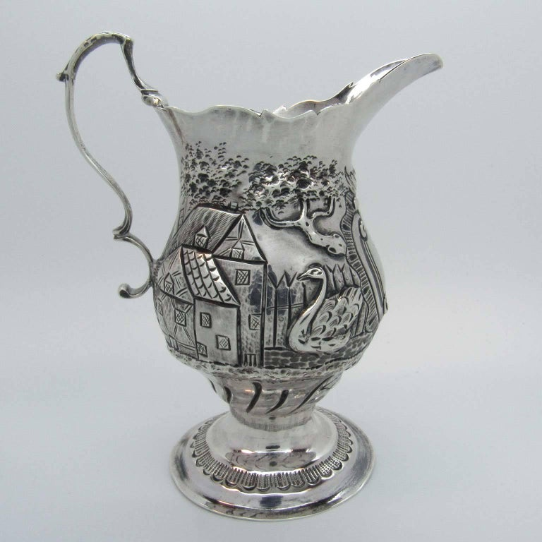 George III sterling silver cream pitcher, with marks for Nathaniel Appleton and Anne Smith, London, 1772. Engraved