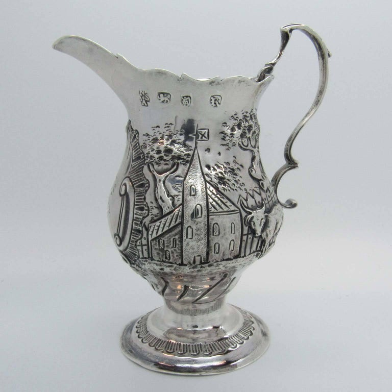 English 18th Century George III Appleton and Smith Sterling Silver Cream Pitcher For Sale