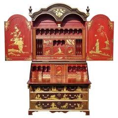 18th Century George III Chinoiserie Secretary Bookcase