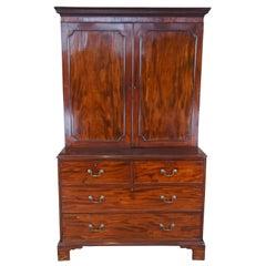 18th Century George III English Mahogany Stepback Linen Press Cupboard Wardrobe