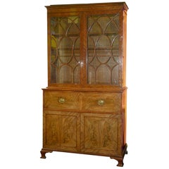 18th Century George III Flame Mahogany Secretaire Bookcase