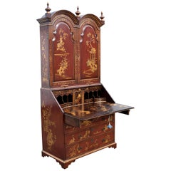18th Century George III Lacquer and Gilt Chinoiserie Secretary Bookcase