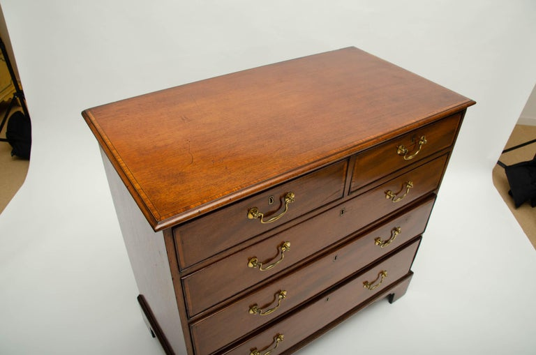 Late 18th Century 18th Century George III Mahogany and Satinwood Chest of Drawers, England For Sale
