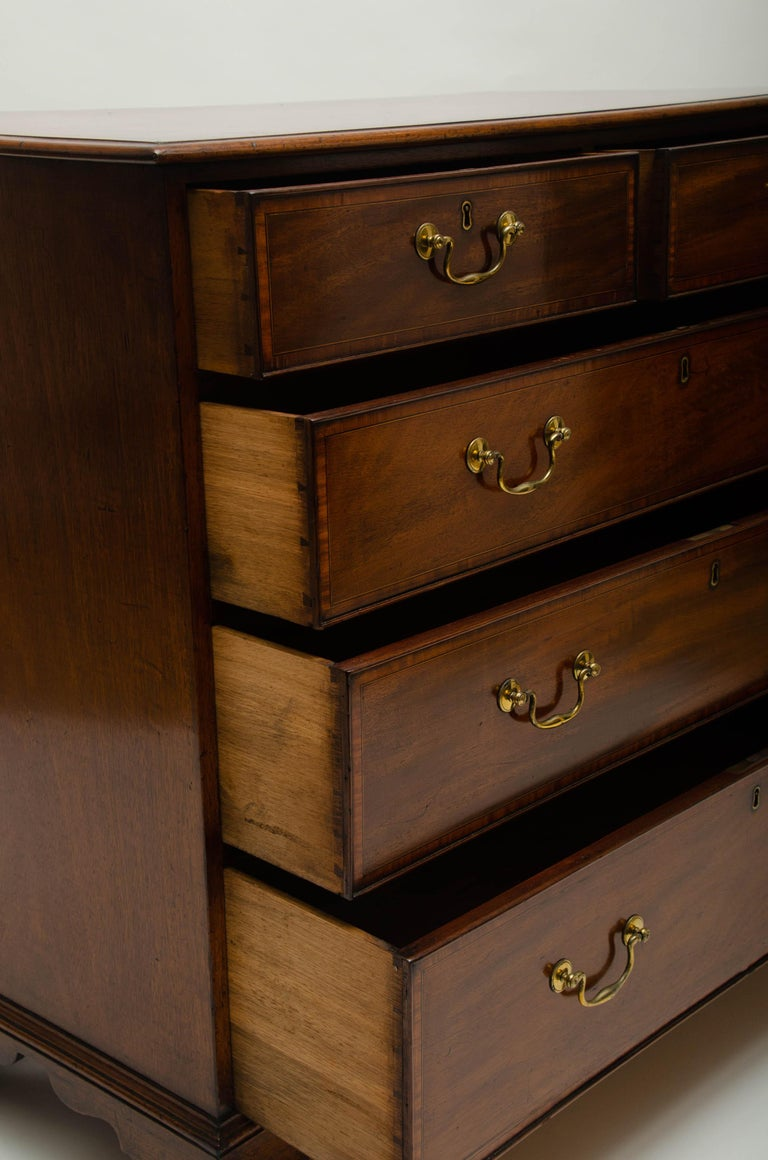18th Century George III Mahogany and Satinwood Chest of Drawers, England For Sale 3