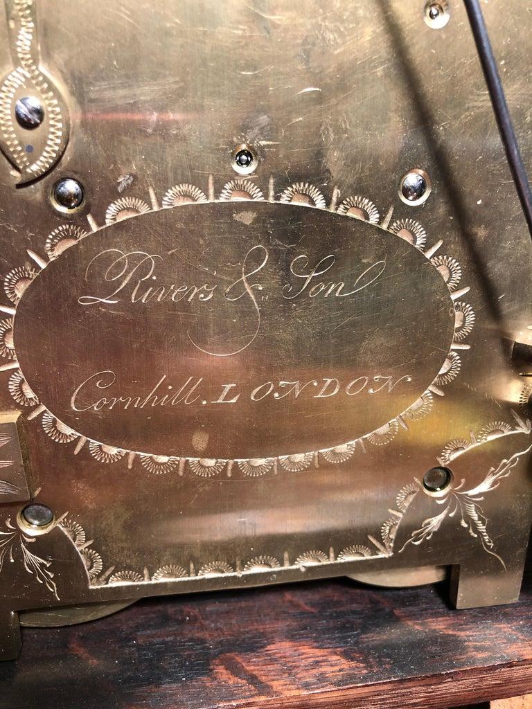 Late 18th Century 18th Century George III Mahogany Bracket Clock, 1780s For Sale