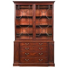 18th Century George III Mahogany Breakfront Bookcase Display Cabinet