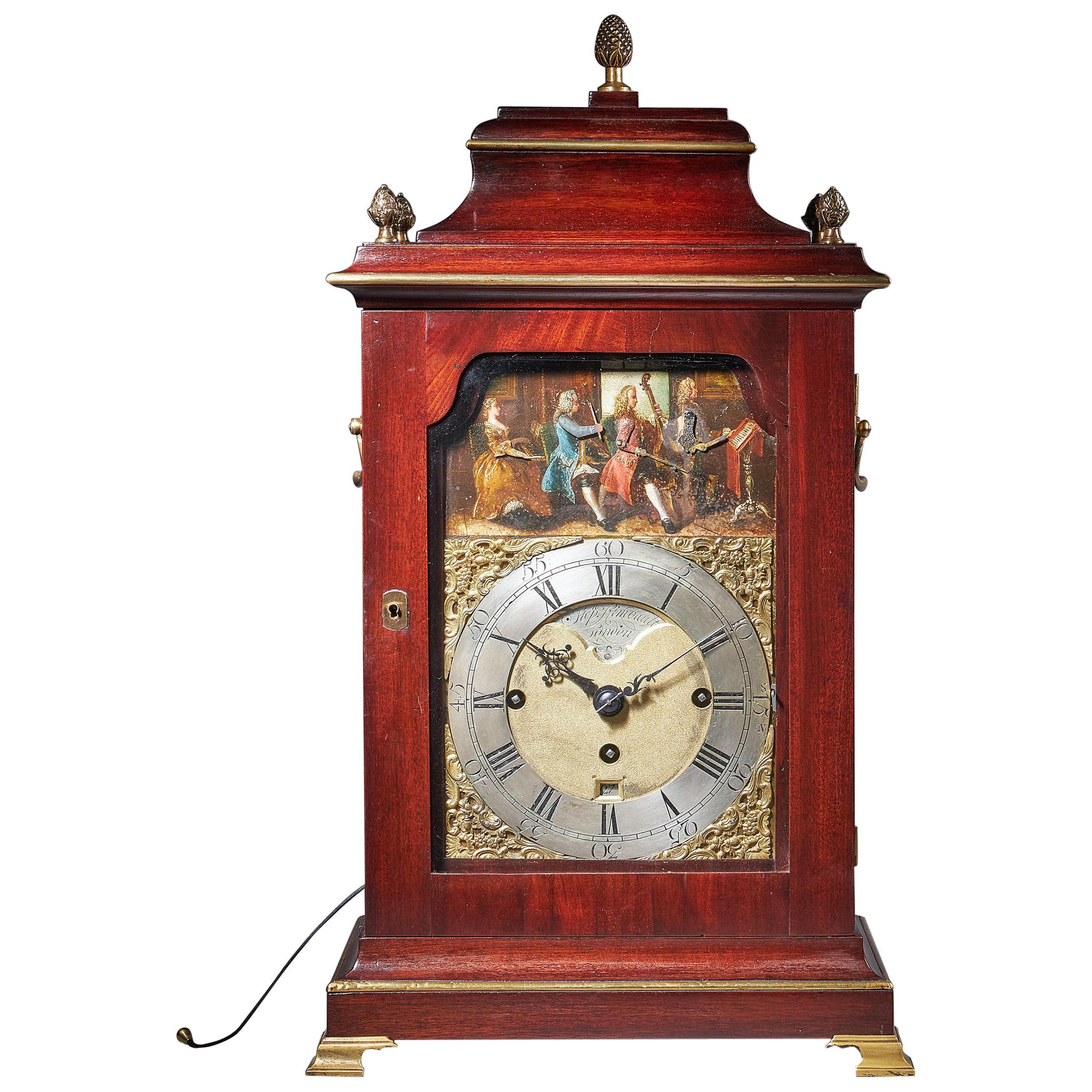 18th Century George III Mahogany Quarter Striking Automation Bracket Clock by St