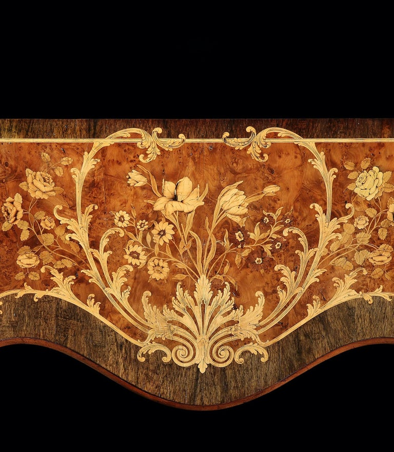 Yew 18th Century George III Marquetry Serpentine Commode Attributed to Ince & Mayhew For Sale