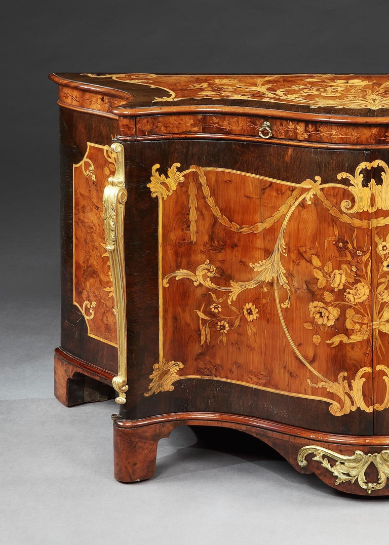 18th Century George III Marquetry Serpentine Commode Attributed to Ince & Mayhew 1