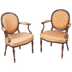 18th Century George III Neoclassical Pair of Armchairs after Robert Adam
