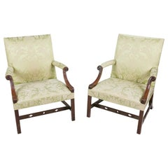 18th Century George III Pair of Gainsborough Chairs