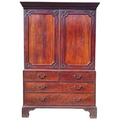 18th Century George III Period Mahogany Antique Linen Press