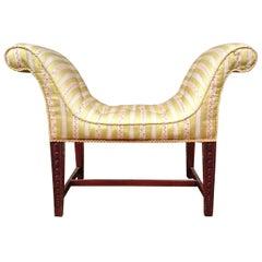 18th Century George III Period Mahogany Antique Window Seat