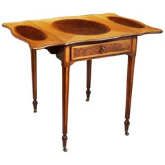 18th Century George III Satinwood and Pollard Oak Pembroke Occasional Table
