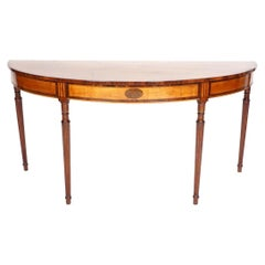 18th Century George III Satinwood Demi-lune Server or Console Table