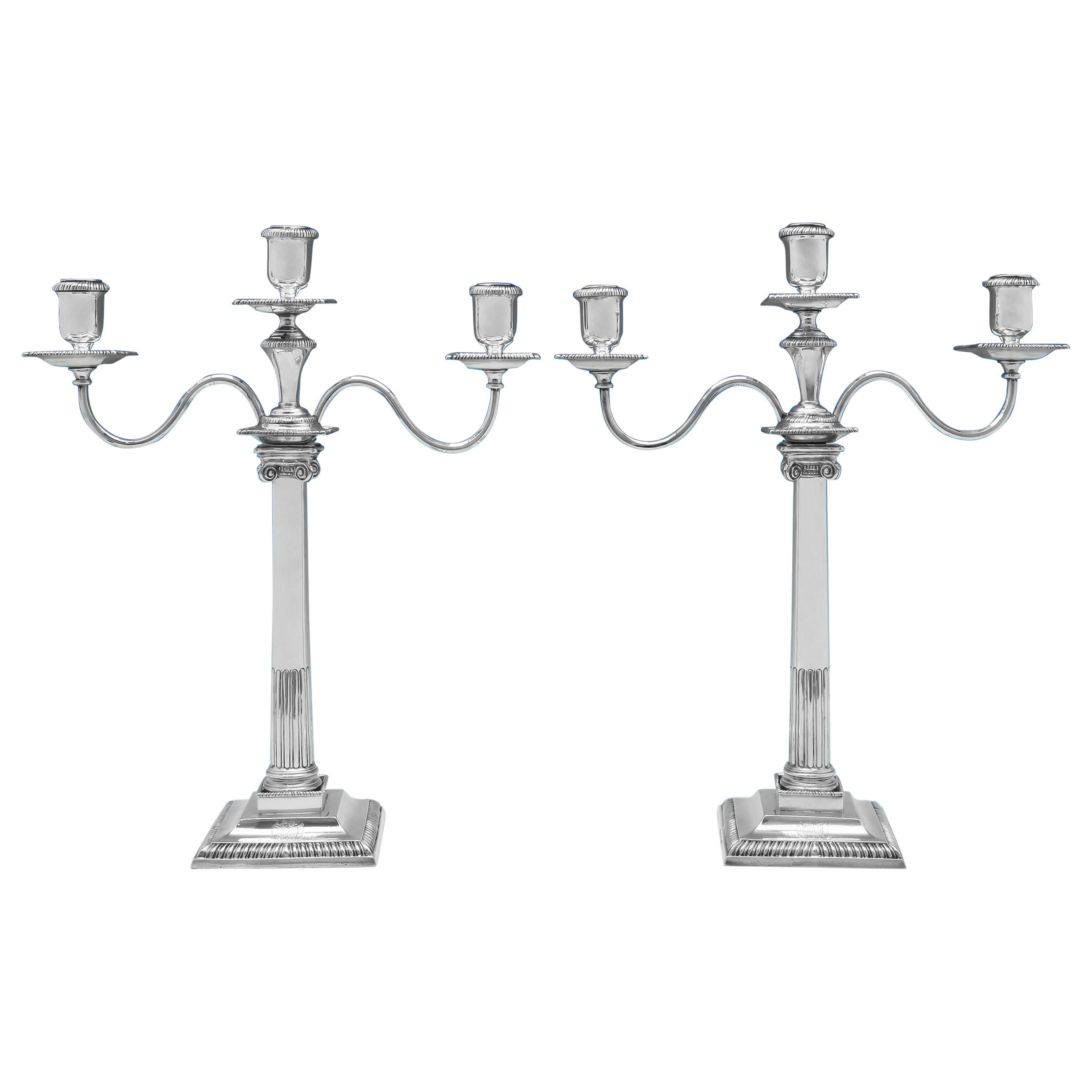 18th Century George III Sterling Silver Pair of Candelabra from 1763