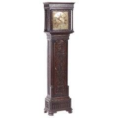 18th Century Georgian Antique Carved Oak Brass Face Longcase Clock by Hugh Lough